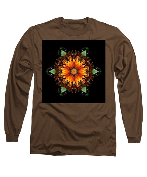 Orange Gazania IIi Flower Mandala Long Sleeve T-Shirt