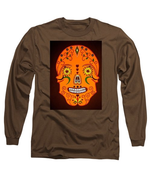 Orange Sugar Skull Long Sleeve T-Shirt by Stephanie Moore