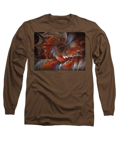 Oriental Sumptuousness-floral Fractal Design Long Sleeve T-Shirt