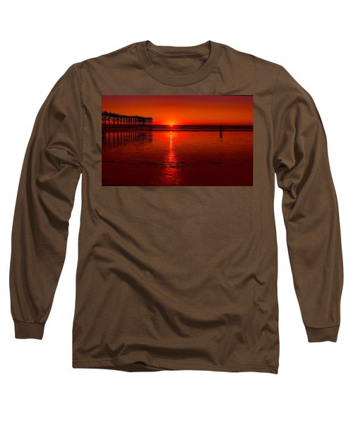 Pacific Beach Sunset Long Sleeve T-Shirt by Tammy Espino