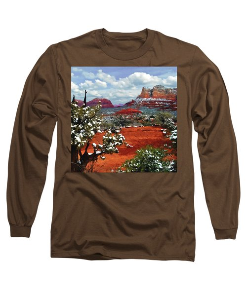 Painting Secret Mountain Wilderness Sedona Arizona Long Sleeve T-Shirt by Bob and Nadine Johnston