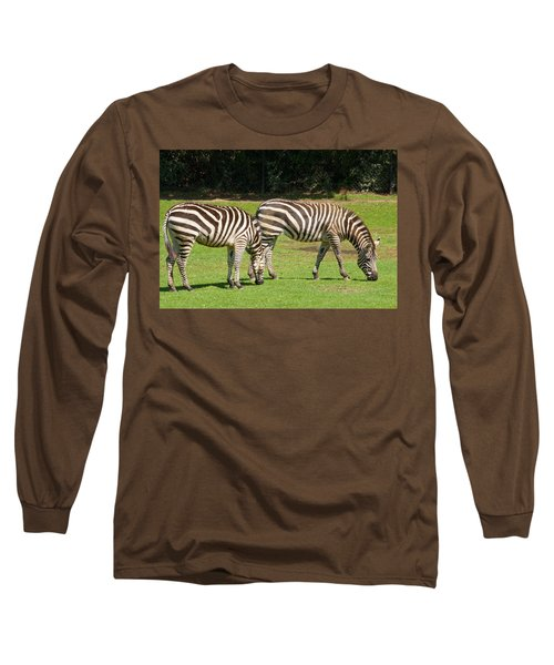 Long Sleeve T-Shirt featuring the photograph Pair Of Zebras by Charles Beeler