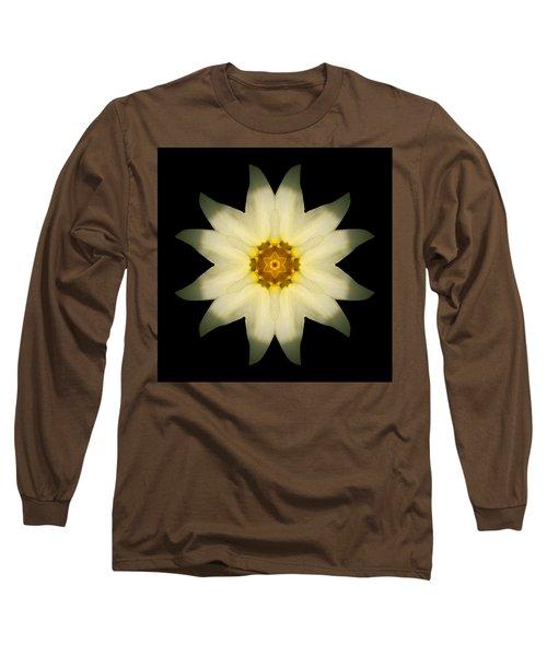 Pale Yellow Daffodil Flower Mandala Long Sleeve T-Shirt