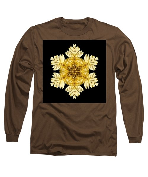 Long Sleeve T-Shirt featuring the photograph Pale Yellow Gerbera Daisy Vii Flower Mandalaflower Mandala by David J Bookbinder