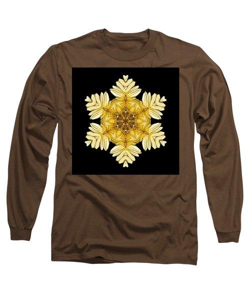 Pale Yellow Gerbera Daisy Vii Flower Mandalaflower Mandala Long Sleeve T-Shirt