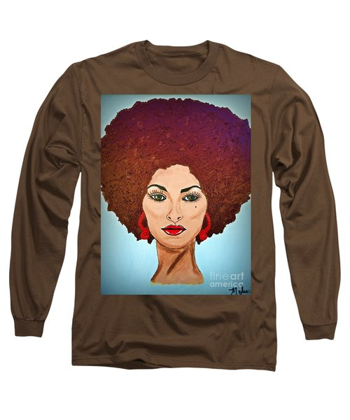 Pam Grier C1970 The Original Diva Long Sleeve T-Shirt by Saundra Myles