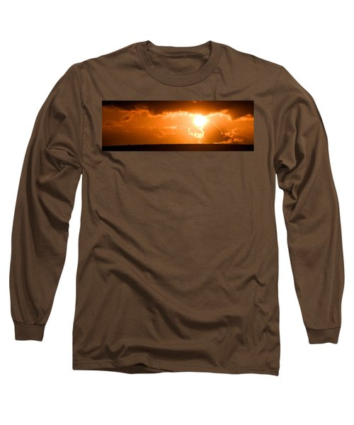 Long Sleeve T-Shirt featuring the photograph Panoramic Photo Of Sunset At Monkey Mia  by Yew Kwang