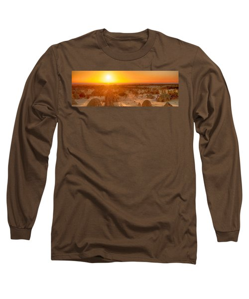 Long Sleeve T-Shirt featuring the photograph Panoramic Photo Of Sunset At The Pinnacles by Yew Kwang