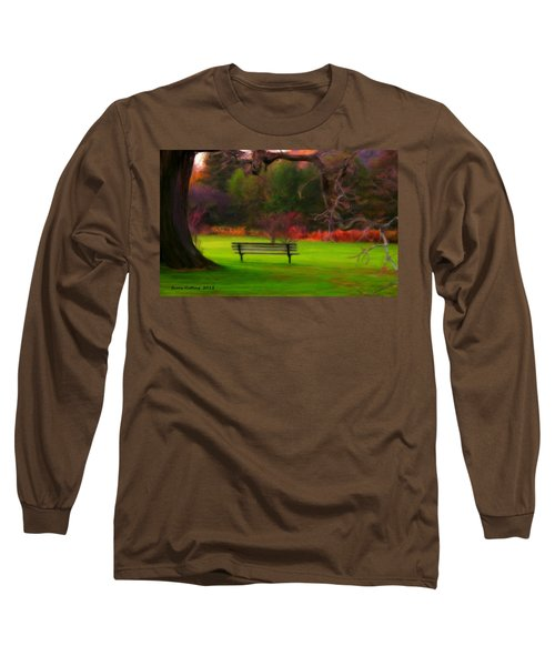 Long Sleeve T-Shirt featuring the painting Park Bench by Bruce Nutting