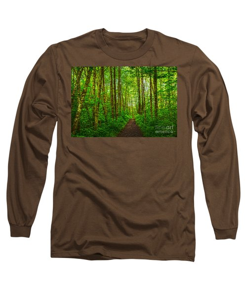 Path In Green Long Sleeve T-Shirt by Sonya Lang