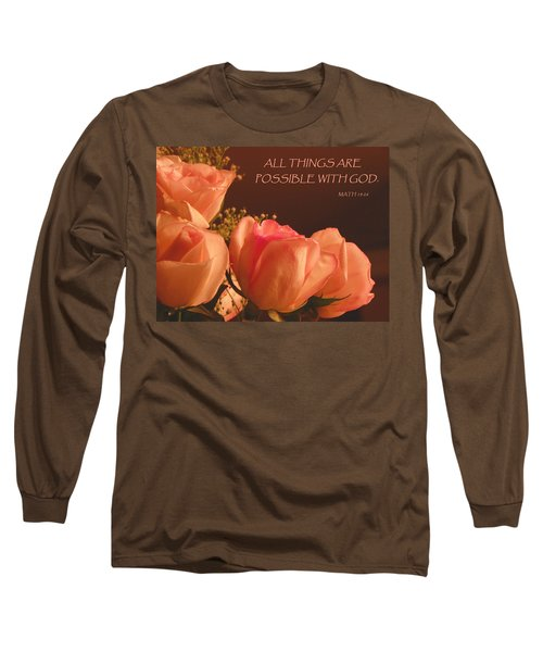 Peach Roses With Scripture Long Sleeve T-Shirt by Sandi OReilly