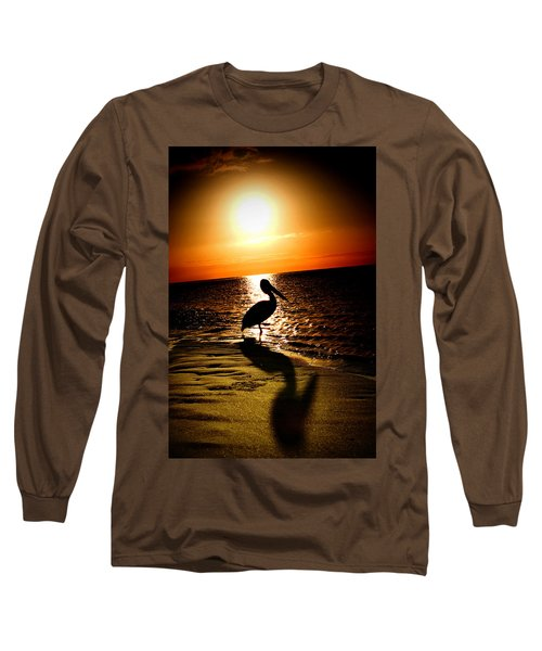 Long Sleeve T-Shirt featuring the photograph Pelican Sunrise by Yew Kwang