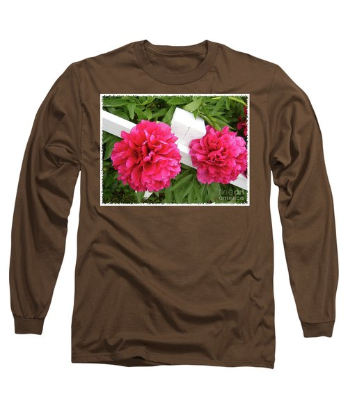 Peonies Resting On White Fence Long Sleeve T-Shirt by Barbara Griffin
