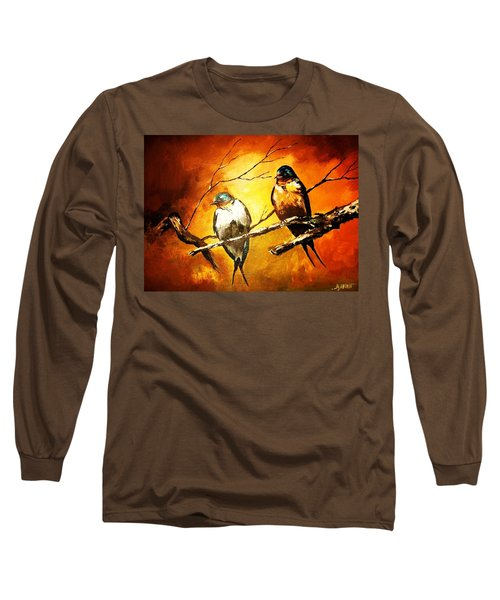 Perched Swallows Long Sleeve T-Shirt