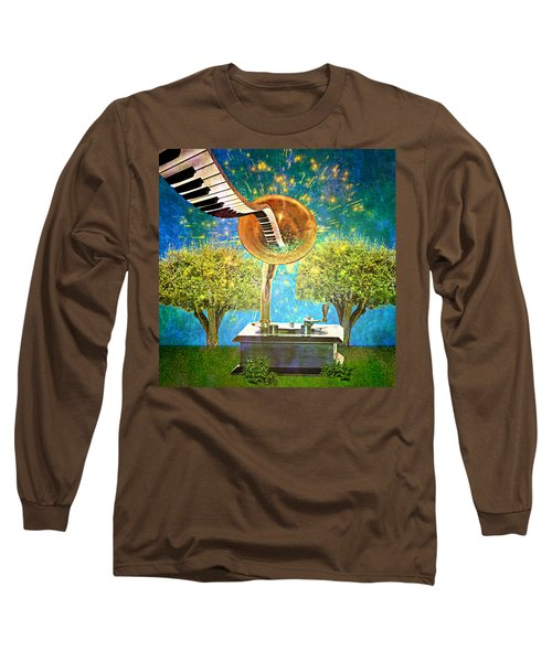 Phonograph Magic Long Sleeve T-Shirt by Ally  White
