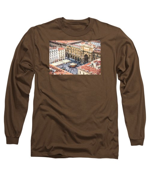Piazza Della Repubblica Long Sleeve T-Shirt by Liz Leyden