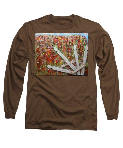 Picket Fence Flower Garden Long Sleeve T-Shirt