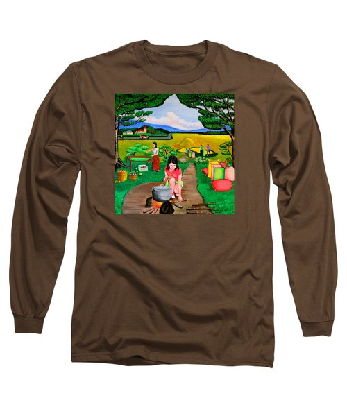 Picnic With The Farmers Long Sleeve T-Shirt by Lorna Maza