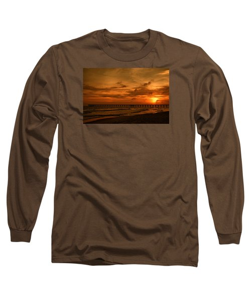 Pier At Sunset Long Sleeve T-Shirt by Sandy Keeton