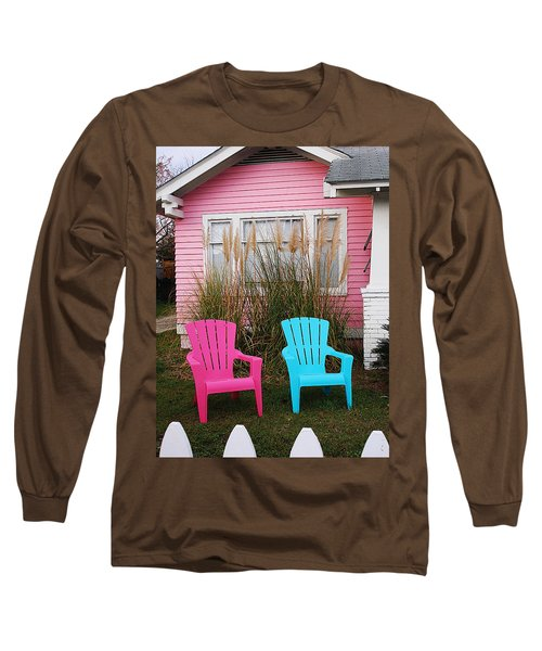 Pink And Blue Chairs By Jan Marvin Long Sleeve T-Shirt