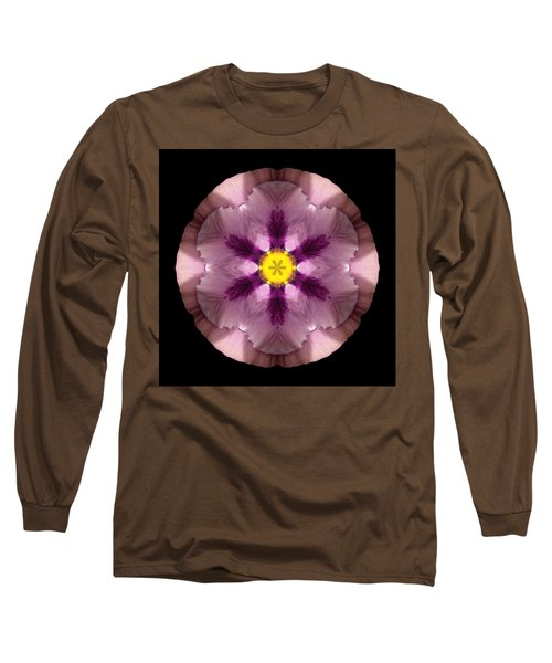 Long Sleeve T-Shirt featuring the photograph Pink And Purple Pansy Flower Mandala by David J Bookbinder