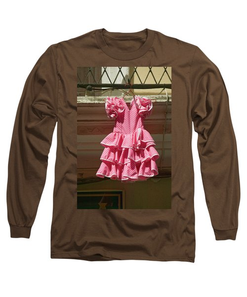 Pink Flamenco Dress For Little Girl Long Sleeve T-Shirt