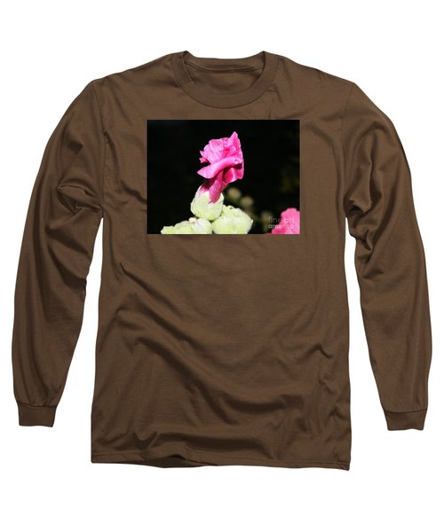 Long Sleeve T-Shirt featuring the photograph Pink Hollyhock  by Ann E Robson