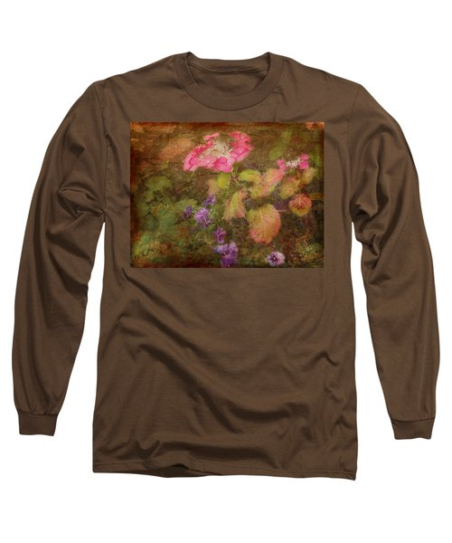 Pink Hydrangea And Purple Pansies Long Sleeve T-Shirt