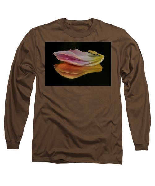 Pink Tulip Petal Reflected On Black Long Sleeve T-Shirt