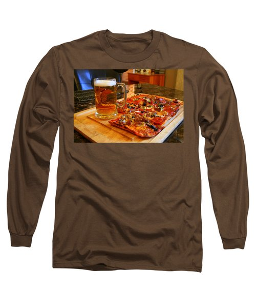 Pizza And Beer Long Sleeve T-Shirt by Kay Novy