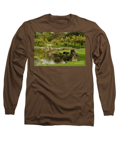 Pond Rocks Grass And Japanese Arch Singapore Long Sleeve T-Shirt