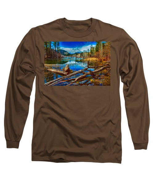 Long Sleeve T-Shirt featuring the painting Pondering A Mountain by Omaste Witkowski