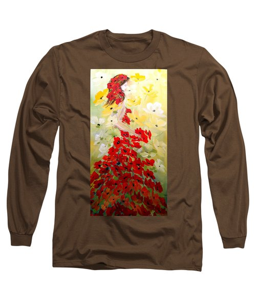 Long Sleeve T-Shirt featuring the painting Poppies Lady by Dorothy Maier