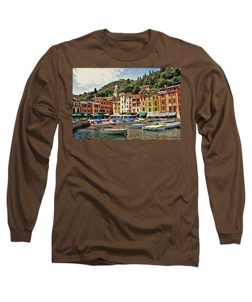 Portofino Harbor 2 Long Sleeve T-Shirt by Allen Beatty