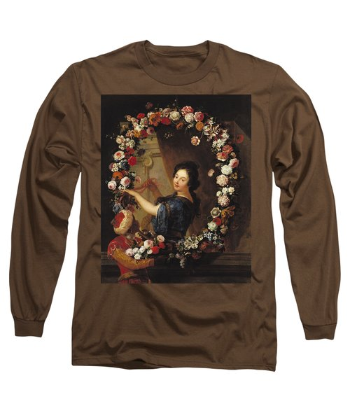 Portrait Of A Woman Surrounded By Flowers, Presumed To Be Julie Dangennes Oil On Canvas Long Sleeve T-Shirt