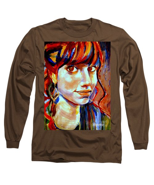 Long Sleeve T-Shirt featuring the painting Portrait Of Ivana by Helena Wierzbicki