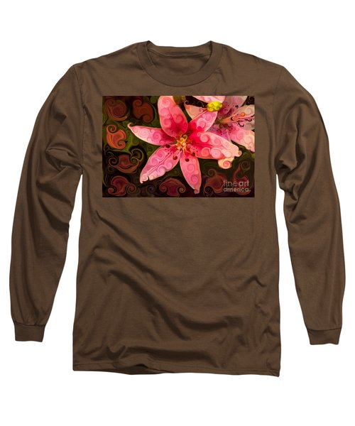 Long Sleeve T-Shirt featuring the painting Pretty In Pink by Omaste Witkowski
