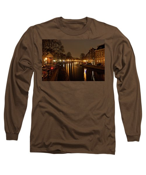 Prinsengracht Canal After Dark Long Sleeve T-Shirt by Jonah  Anderson