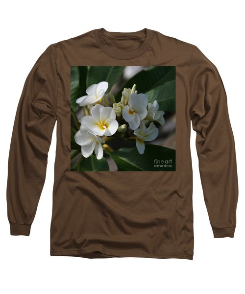 Pua Melia Na Puakea Onaona Tropical Plumeria Long Sleeve T-Shirt