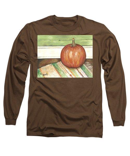 Pumpkin On A Rag Rug Long Sleeve T-Shirt