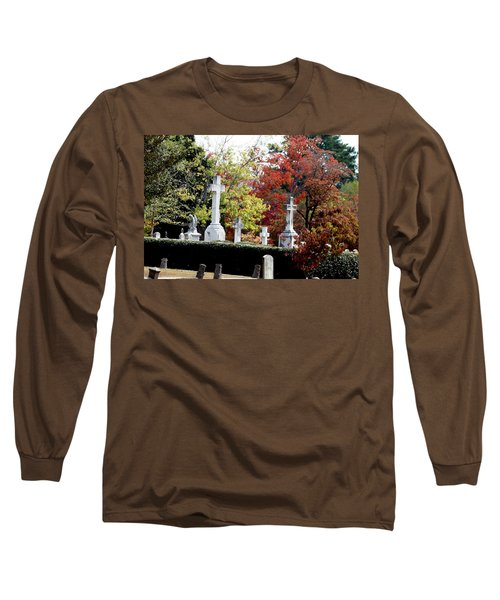 Long Sleeve T-Shirt featuring the photograph Quad Crosses In Fall by Lesa Fine