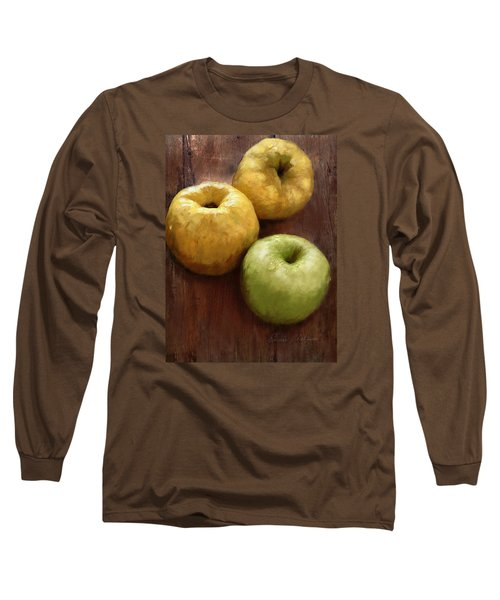 Quince And Apple Still Life Long Sleeve T-Shirt by Enzie Shahmiri