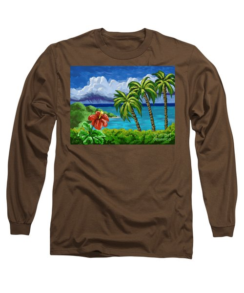 Long Sleeve T-Shirt featuring the painting Rain In The Islands by Tim Gilliland
