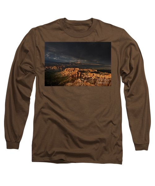 Long Sleeve T-Shirt featuring the photograph Rainbow And Thunderstorm Over The Paunsaugunt Plateau  by Dave Welling