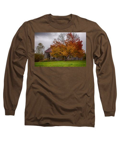 Long Sleeve T-Shirt featuring the photograph Rainbow Of Color In Front Of Nh Barn by Jeff Folger