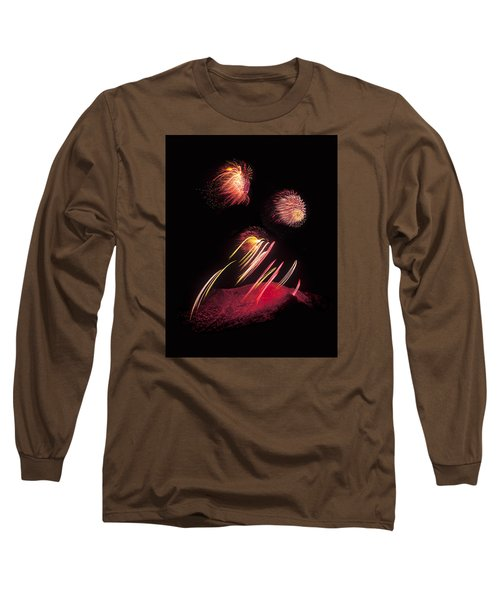 Raining Fire At Midnight Above 14000 Feet Long Sleeve T-Shirt by Bijan Pirnia