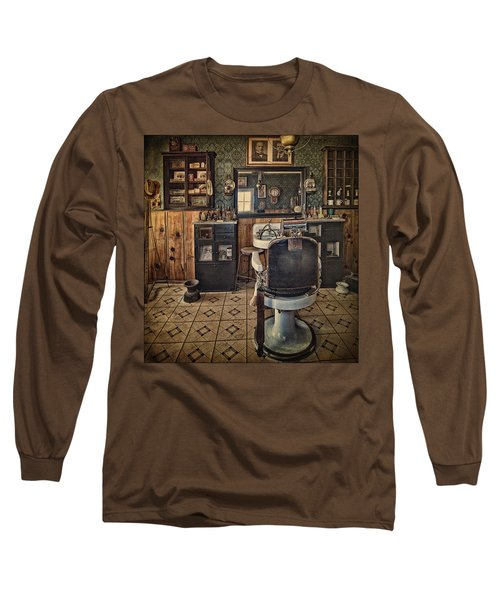 Randsburg Barber Shop Interior Long Sleeve T-Shirt by Priscilla Burgers