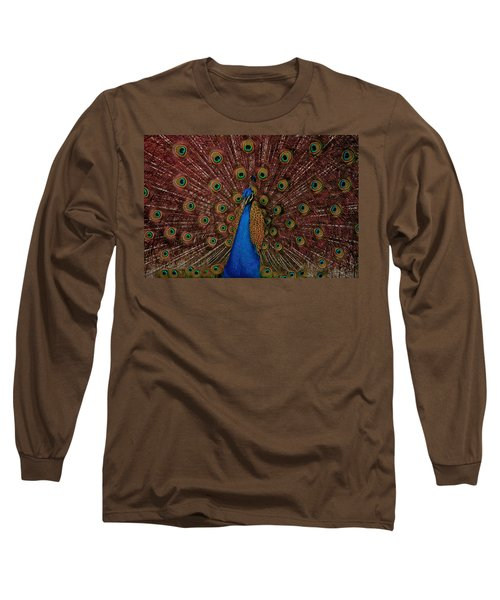 Long Sleeve T-Shirt featuring the photograph Rare Pink Tail Peacock by Eti Reid