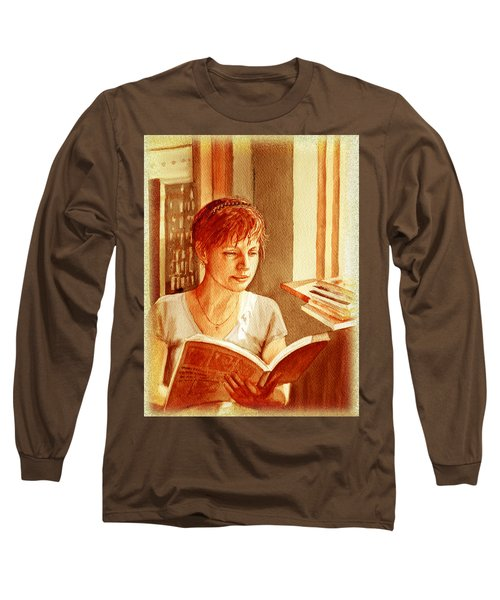 Reading A Book Vintage Style Long Sleeve T-Shirt by Irina Sztukowski