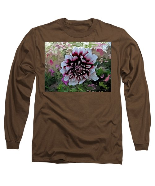 Red And White Dahlia  Long Sleeve T-Shirt